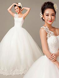 Vestido de Noiva - Branco Princesa Um Ombro Só Cauda Escova Renda/Tule