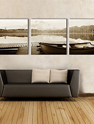 E-HOME® Stretched Canvas Art Lake Boat  Decorative Painting Set of 3