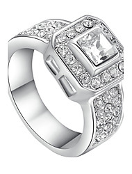 T&C Women's 18k White Gold Plated 1.2ct Princess Cut Square Clear Swiss Cz Diamond Engagement Ring