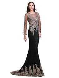 Formal Evening Dress - Black Plus Sizes / Petite Trumpet/Mermaid Jewel Floor-length Spandex / Jersey