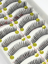 10 Pairs Natural Long Black False Eyelashes Handmade Soft Thick Fake Corss EyeLashes Makeup Eyelashes Extensions