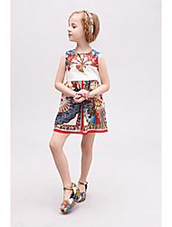 New 2015 Summer Girls Fashion Cinderella Dress Fan Print Vestidos Baby Girl Dress Girls Dresses