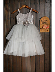 A-line Tea-length Flower Girl Dress - Tulle / Sequined Sleeveless Spaghetti Straps with