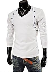 Camisetas ( Algodón Compuesto )- Casual Escote en V Manga Larga