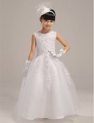 A-line Floor-length Flower Girl Dress - Organza / Satin Sleeveless Jewel with