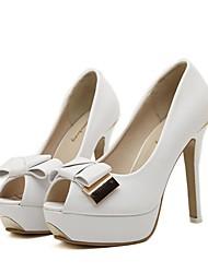 Stiletto - Kunstleder - FRAUEN Absätze/Peep Toe - Pumps / High Heels ( Schwarz/Weiß )