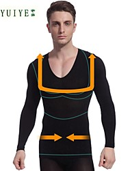 YUIYE® Men Long Sleeve Slimming Underwear Body Shaper Shirt Firm Tummy Belly Bust Nylon Black
