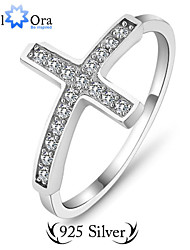 Guarantee 925 Sterling Silver Charms Rings For Women Fashion Jewelry CZ Cross Ring Sterling Silver