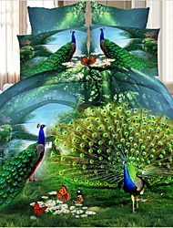 Ailianna Four Piece 3D Peacock Pattern Full Duvet Cover Sets Full Size