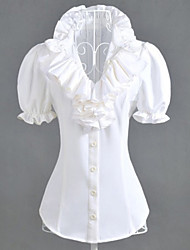 Blouse/Shirt Sweet Lolita Lolita Cosplay Lolita Dress White Solid Short Sleeve Lolita Shirt For Women Polyester