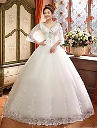 Ball Gown Sweep/Brush Train Wedding Dress -V-neck Satin
