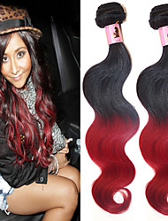 """3 Pcs/Lot 12""""-26"""" 100% Peruvian Unprocessed Virgin Human Hair #1B-Red Color Ombre Body Wave Hair Weaves"""