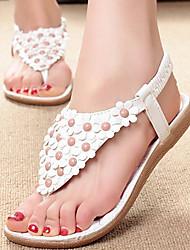 Sandales (Simili Cuir , Blanc/Camel) Talon plat - 0-3cm pour Chaussures femme