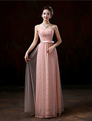 Floor-length Lace Bridesmaid Dress - Sheath / Column Sweetheart with Lace / Sash / Ribbon
