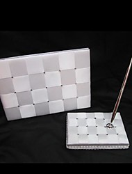 Elegant Check Wedding Guest Book and Pen Set In White Satin Sign In Book