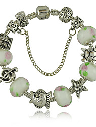 Women's Bracelet of European Style Beads  With Music Sign Crown Turtle White Glass Beads and Safety Chain