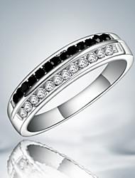 Классические кольца Стерлинговое серебро Цирконий Имитация Алмазный Мода Заявление ювелирные изделия Черно-белый Бижутерия Для вечеринок