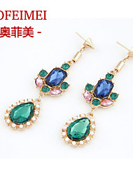Europe and America hit the color stitching blue green gem exaggerated nightclub dress long fashion earrings female