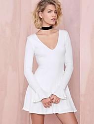 Damen Kleid - Übergrößen Sexy / Leger Mini Baumwoll-Mischung