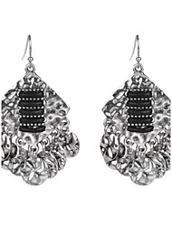 Fashion Vintage Women Silver Plated Exaggeration Earrings Black Resin Dangle Earrings for Party