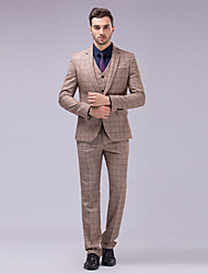 Suits Tailored Fit Slim Notch One-Button Polyester Checkered 3 Pieces Brown