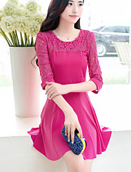 Women's Casual Round ¾ Sleeve Dresses (Cotton Blend)
