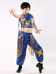 Jazz Performance Outfits Children's Performance Polyester Fashion Tassel Outfit Black/Blue Kids Dance Costumes