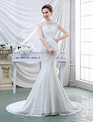 Vestido de Boda - Blanco Corte Sirena Barrida - Cuello Alto Encaje