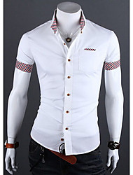 YLG Men's Han edition grid casual shirts with short sleeves(Cotton/Lycra/Polyester)
