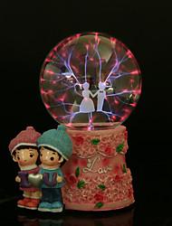 amantes felices bola de cristal de resina lámpara recargable llevó