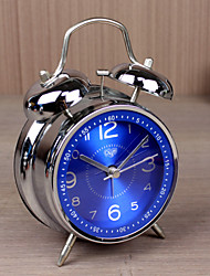 "Original Design 4""Dial Twin Bell Mute Alarm Clock Men's Bedroom Clock Alloy Silver Clock  with Navy color Dial"
