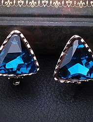 Fashion Blue Alloy triangle Earring for Women, Weddding head Accessories with Rhinestones for ladies