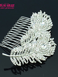 Neoglory Jewelry Clear Rhinestone Bridal Feather Hair Combs for Lady/Wedding/Party/Daily