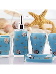 The Sea Shells Pattern Bathroom Ware 5 Sets/Blue