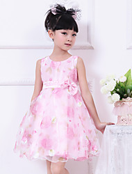 Girl's Pink Flower Print Tulle Bow Party Wedding Pageant Princess Dresses