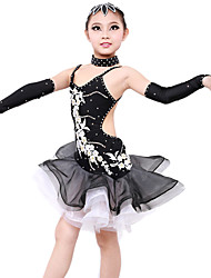 High-quality Spandex with Appliques Latin Dance Dresses for Children's Performance/Training Kids Dance Costumes