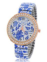 Women's  Fashion China Style Diamonds Flower Printing Porcelain Quartz Analog Wristwatch Cool Watches Unique Watches