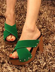 Sandálias ( PU , Preto/Verde/Laranja/Amarelo/Azul Claro/Azul Escuro/Amêndoa ) Sapatos de Senhora - Salto Massudo - 10-12cm