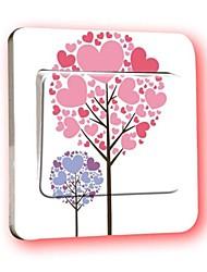 interruptor calcomanías pegatinas de pared, etiqueta engomada amor árbol interruptor pvc