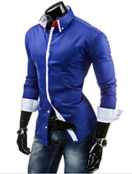 Men's Long-sleeved Shirt Double Collar Long-sleeved Shirt Placket Unique Design