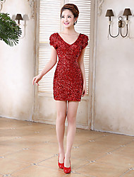 Cocktail Party Dress - Ruby Sheath/Column V-neck Short/Mini Sequined