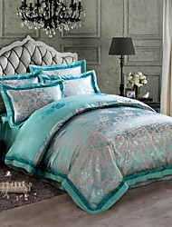 Green Luxury Silk Cotton Blend Duvet Cover Sets Queen King Size Bedding Set