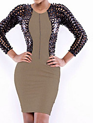 Women's Leatherette Fishnet Bodycon Club Dress