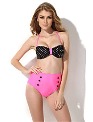 CA155001-542-2015 The  Latest Version of Black and White Wave + Pink Sexy BIKINI Swimsuit (L)