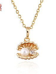 KU NIU 2015 Lovely 18K Gold Plated Gift Pearl Chains Statement Necklaces & Pendants D0283