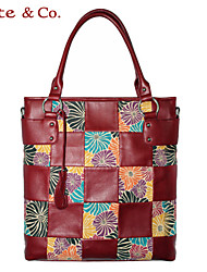 Kate@Co.® Women's Red Pvc Figured Cloth Check Splicing Multi-Function Handbag(14 Inch)