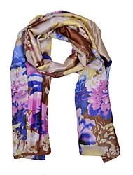 Women's Flora Print Satin Square Bandana Scarf