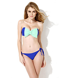 New Sexy Royal Blue Bandeau Top Bikini Swimwear with A Playful Bow at the Center Front in Low Price