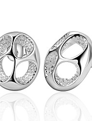 lureme® Fashion Style Silver Plated Circle Flowers Shaped Stud Earrings