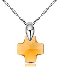 orar collar corto plateado con 18k platino verdadero topacio ahumado cristalizó piedras de cristal austríaco